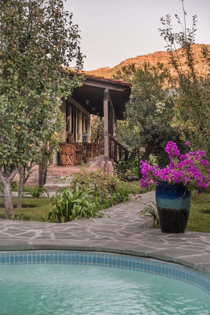 Garden and Pool Mision Cerocahui Copper Canyon